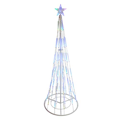 Northlight White Double Tier Bubble Cone Christmas Tree Lighted Yard Art Decoration with Multicolored Lights, 9'