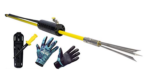 Diving Knife Yellow Handle - DXDiver Automatic Pole Spear, Camo Amara 2mm Neoprene Gloves & Sopras Sub Knife Scuba Diving Freediving Spearfishing (Yellow Handle Teflon Blade, Small Gloves)