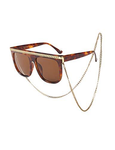 nueva estilos 27588 fe8a3 Detalles de besbomig Gafas de Sol Mujeres Retro Vintage Gafas (Leopardo /  Marrón)