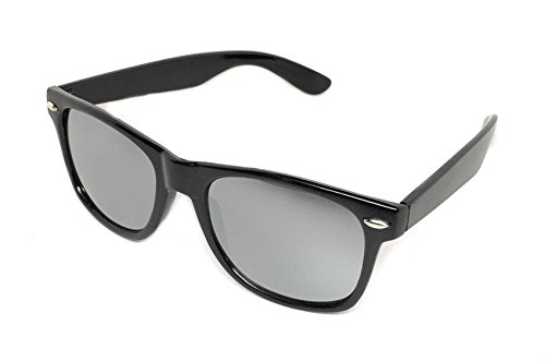 WebDeals - Color Mirror Reflective Lens and Dark Horn Rimmed Large Square Sunglasses (Black Gloss / Silver - Mirror Sunglasses Finish Silver