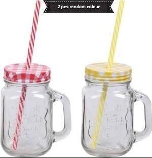 Satyam Kraft 430 Ml Mason Glass Jar Mug With Straw -2 Pcs