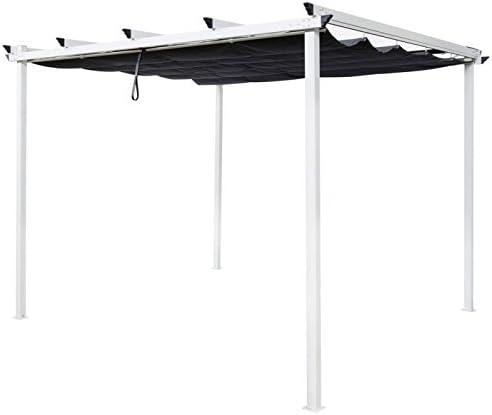 Pergola 3 x 3 m tejado japonés blanco y gris Tarragona – L 300 x l ...