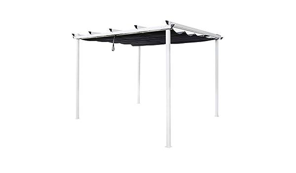 Pergola 3 x 3 m tejado japonés blanco y gris Tarragona – L 300 x l 300 x H 220: Amazon.es: Hogar