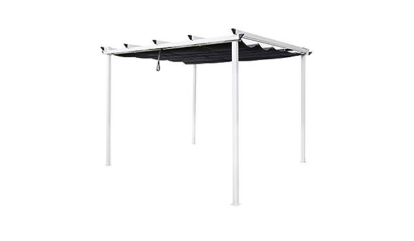 Pergola 3 x 3 m tejado japonés blanco y gris Tarragona – L ...