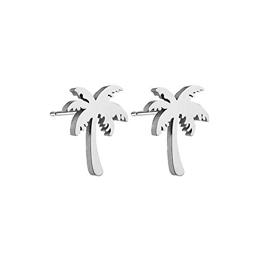 (RUIZHEN Stainless Steel Tiny Beach Palm Tree Stud Earrings(Silver))