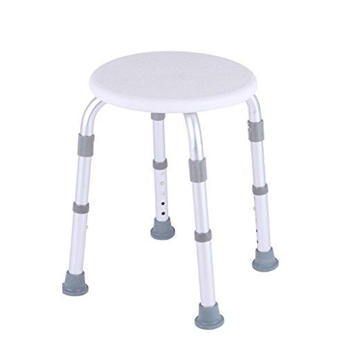 Round Bathroom Shower Stool | Adjustable Height Shower/Bath Seat Bench for Elderly Disabled or Pregnant Women | Healthcare Lightweight Aluminum Alloy Bathroom Bath Chair (White) by LPZ-Bath & Shower Aids