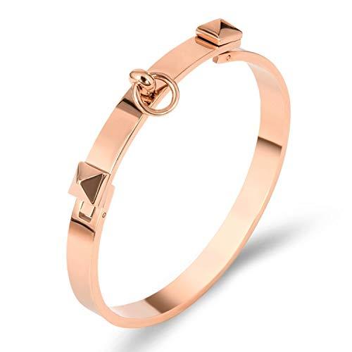 Designer Inspired Titanium Steel Dual Pyramid Cuff Bracelet Bangle (Rose ()