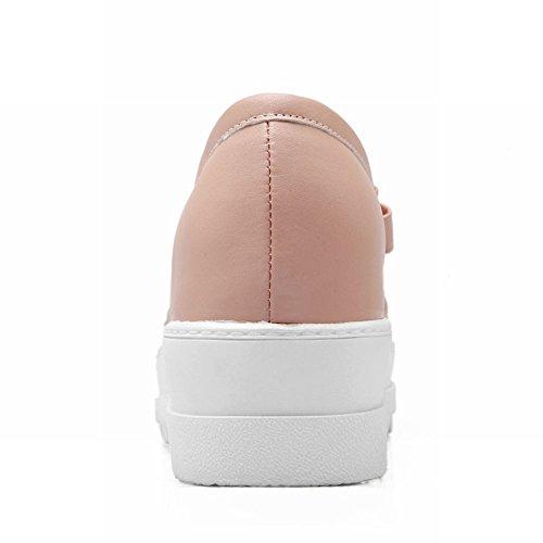 Latasa Kvinna Mode Båge Plattform Mitten Kilklack Slip På Loafers Skor Rosa