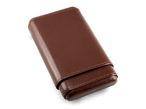 Skyway Stonewall Leather Cigar Case Holder with Cedar Lining - Brown