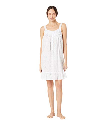 Eileen West Women's Cotton Woven Swiss Dot Sleeveless Short Chemise White Ground Floral Scroll Large