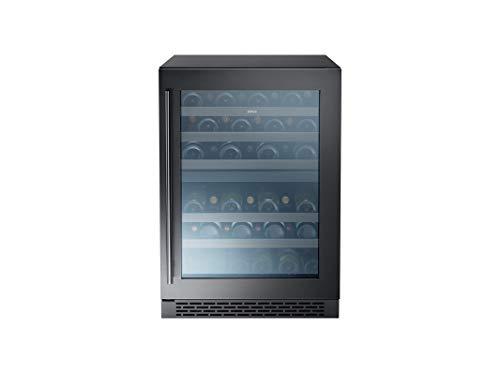ZEPHYR Wine Cooler, 24in UC, Blk SS+Glass, Rvs Door, 2 Zone [44 Bottles]