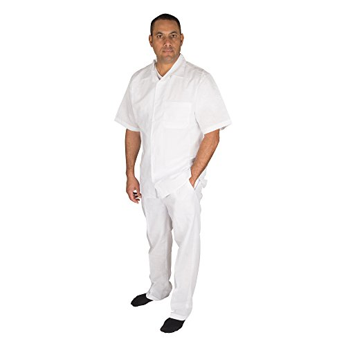 Vittorino Men's 100% Linen 2 Piece Walking Set With Long Pants and Short Sleeve Shirt, White, XXXXX-Large ()