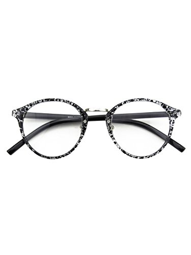 Happy Store CN65 Vintage Inspired Horned Rim Metal Bridge P3 UV400 Clear Lens Glasses,Black - Womens Glasses Cute