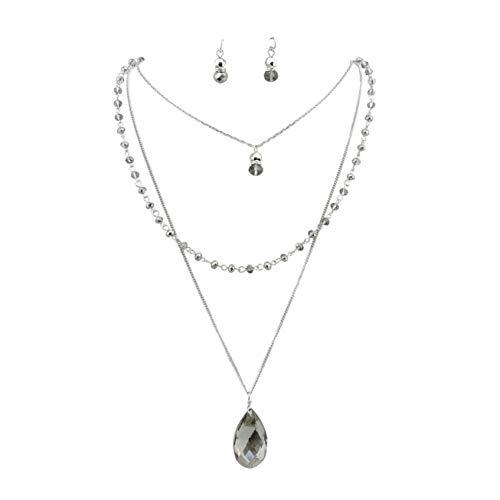 - Bocar 3 Layer Jewelry Set Long Chain Pendant Bead Necklace Earring for Women (NK-10036-Grey)