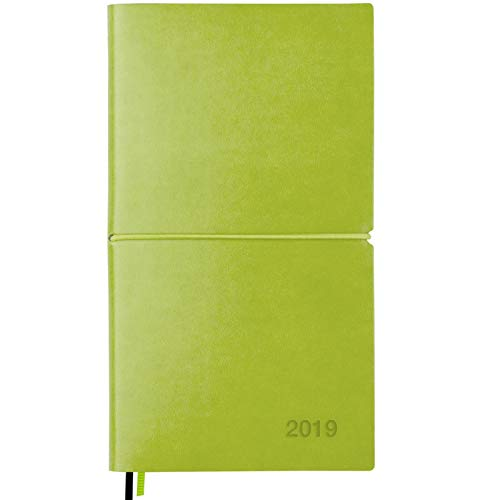 2019 Planner/Pocket Calendar: 14 Months (Nov 2018 - Dec 2019) Weekly, Monthly Calendars, Leather Material, Elastic Closure, Decorative Stitching, Page Finder Ribbons and Notes Pages (Green/Black) ()