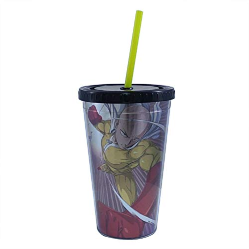 One Punch Man Double Wall Plastic Carnival Cup/Stadium Cup (Multi Color, Pack of 1) - Drinking Glass Gifts & Merchandise Travel (Carnival Glass Cup)