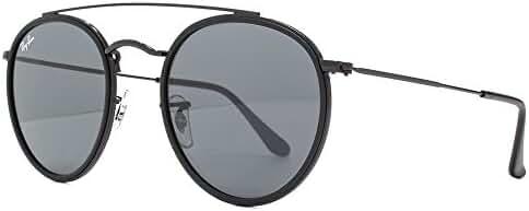 Ray-Ban Metal Unisex Round Sunglasses, Black, 51.1 mm