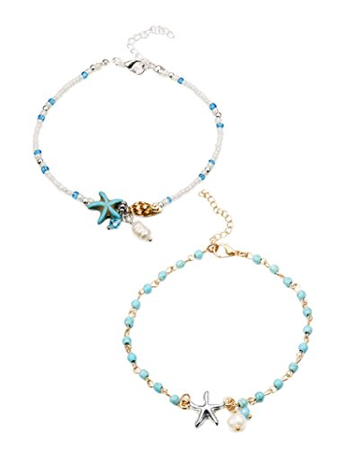 LOYALLOOK 2Pcs Beach Anklets Bracelets Foot Jewelry Anklets for Women Mini Beads Pearl Charms Chain Adjustable for Women Golden