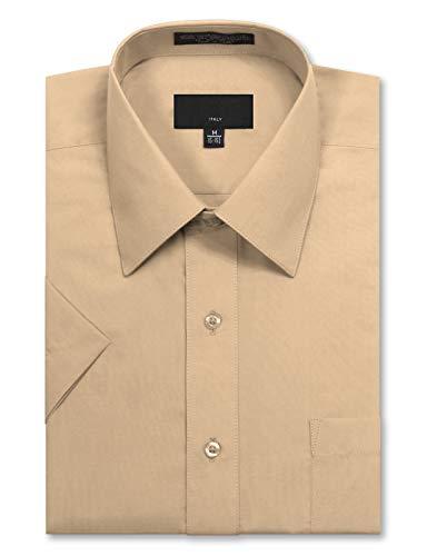 (JD Apparel Men's Regular Fit Short Sleeve Dress Shirts 18-18.5N XX-Large Light Blush Khaki)