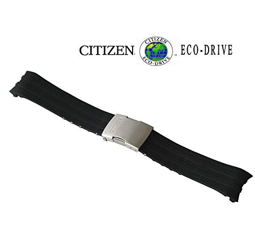 Citizen 59-S53460 Original Replacement 23mm Black Rubber Watch Band Strap fits 59-S52169 59-S52108 CB0020-09E CB0021-06E CB0027-00E CB0027-18E 4-S069467 4-S073553 4-S067383 4-S073316