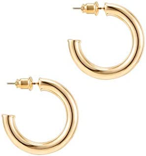PAVOI 14K Gold Colored Lightweight Chunky Open Hoops | Gold Hoop Earrings for Women