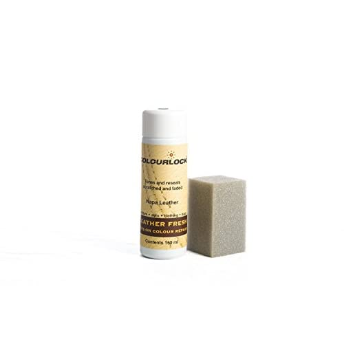 Colourlock Teinture pour cuir pour restaurer la couleur du cuir, les éraflures ou dommages présents sur les sièges de voiture, canapés, sacs ou vêtements 150ml, F002 - Ivory, 150 ml