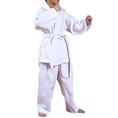 Kids Taekwondo Student Uniform White Karate Dobok Martial Arts Costume Taekwondo Gi Judo Uniform Fight Wear Kungfu Sports Suit Adult (White, M-Kids) ()
