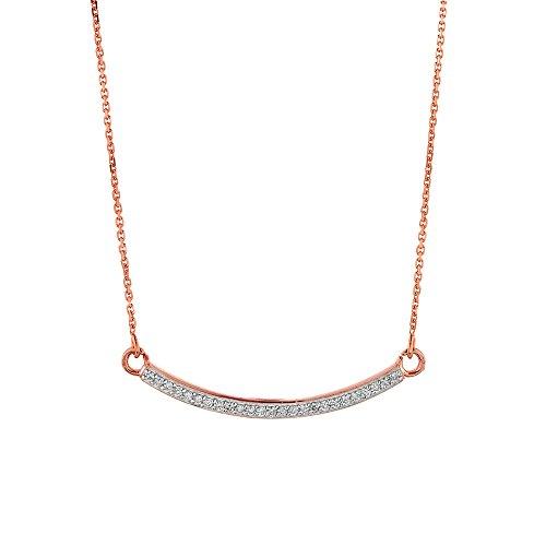 Petits Merveilles D'amour - 14 ct Or Rose 585/1000 Bar courbes Collier Diamants AVEC