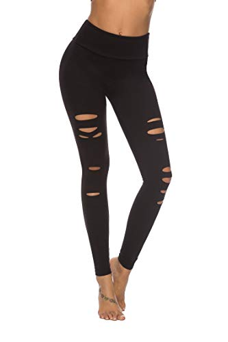 DIBAOLONG Womens High Waist Yoga Pants Cutout Ripped Tummy Control Workout Running Yoga Skinny LeggingsBlack M (Best Place To Get Jeggings)