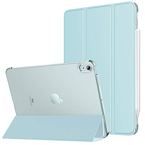 MoKo Case Fit New iPad Air 4th Generation 2020 - iPad Air 4 Case 10.9 inch Slim Lightweight Shell Stand Cover with Translucent Frosted Back Protector for iPad Air 4, Auto Wake/Sleep, Sky Blue