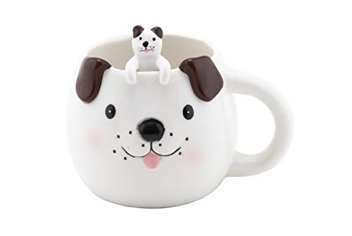(FMC Cute Animal Novelty Ceramic Coffee Tea Mug with Matching Spoon 16 fl oz Mug (Cute Puppy))