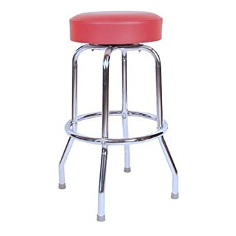 Classic Red Chrome 30 Inch Swivel Bar Stool – Made in USA