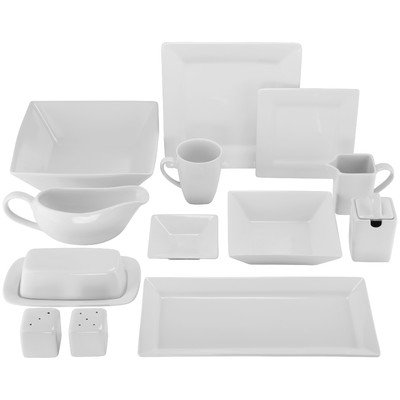 White Square 40-Piece Starter Dinnerware Set Service for 6