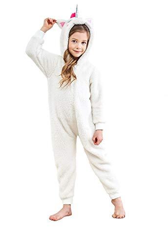 Anna King Kids Animal One-Piece Pajamas Costume Hooded Cosplay Onesies Plush Sleepwear for Girls & Boys Unicorn Size 4]()