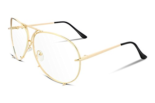FEISEDY Stylish Aviator Oversized Sunglasses For Women Men Metal Frame UV400 Lens - Sunglasses Trend New
