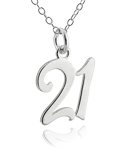 Sterling Silver Number 21 Twenty One Charm Necklace, 18