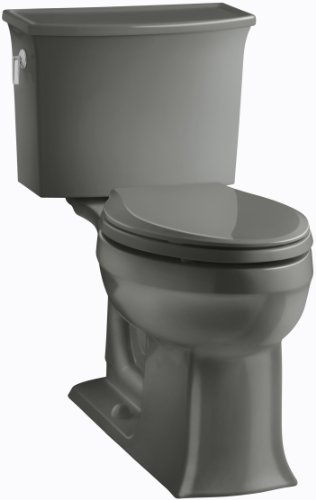 KOHLER K-3551-58 Archer Comfort Height Two-Piece Elongated 1.28 GPF Toilet with AquaPiston Flush Technology and Left-Hand Trip Lever, Thunder Grey