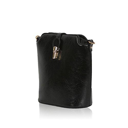 External Back Zip Pocket Tiny und strukturierte Tasche für Mädchen Gessy mit Clip Befestigung in reiner Farbe (Teal) Black