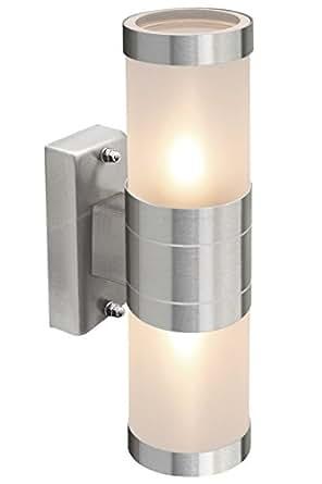 De acero inoxidable hacia arriba y abajo LED de jardín Lámpara de pared de cristal esmerilado diseño de IP44 de bajo consumo