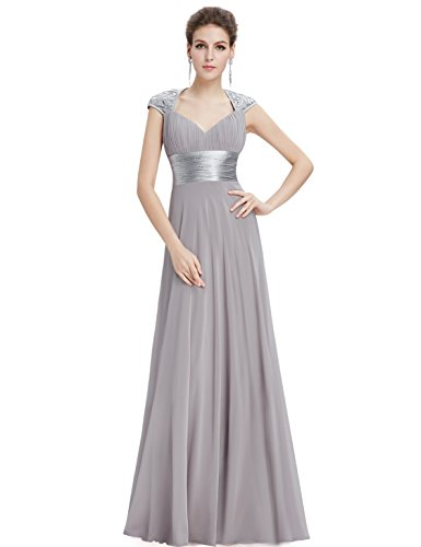 Ever Pretty Damen V-Ausschnitt Lange Chiffon Abendkleider Festkleider Größe 36 Grau
