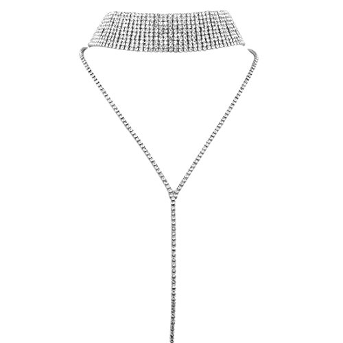 Silver Chain Lariat (KUIYAI Bling Bling Wide Rhinestone Crystal Lariat Choker Necklace with Long Chain Pendant for Women Girls (silver clear choker))