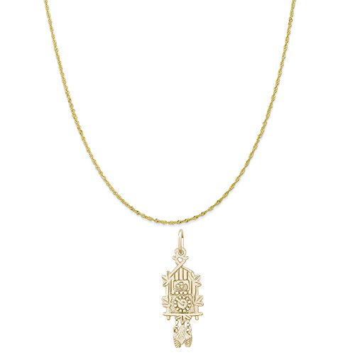 - Rembrandt Charms 10K Yellow Gold Cuckoo Clock Charm on a Twist Curb Chain Necklace, 16