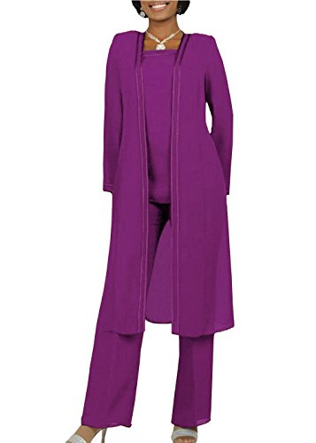 The Peachess Long Sleeves Mother Of The Bride Pant Suits Plus Size 3 Pieces 24 Plus Purple