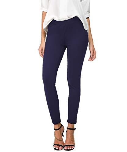 Bamans Womens Slim ComfortFitSkinnyLegStretchPull-On Work Pants, Royal Blue ()