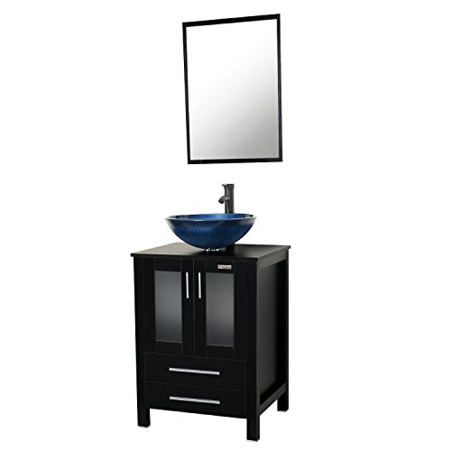 32' Single Bathroom Vanity (Eclife 24'' Modern Bathroom Vanity And Sink Combo Stand Cabinet and Round Blue Glass Vessel Sink and 1.5 GPM Bathroom Brass Faucet and Brass Pop Up Drain & Mounting Ring A11B2)