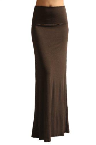 Azules Women'S Rayon Span Maxi Skirt - Solid large Dark Brown