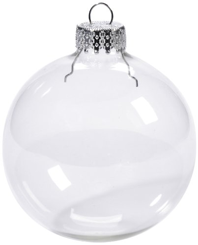 Darice 2610-43 4-Piece Heavy Duty Glass Balls Clear Glass, 80mm (People Ornament Christmas)