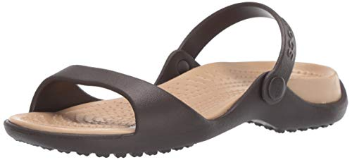 Crocs Women's Cleo Slide Sandal Espresso/Gold 10 M US