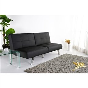 Svitlife Black Leatherette Foldable Click-Clack Futon Sofa Bed Futon Size Full Cover Queen Thick Inch Mattresses Slipcover Mattress