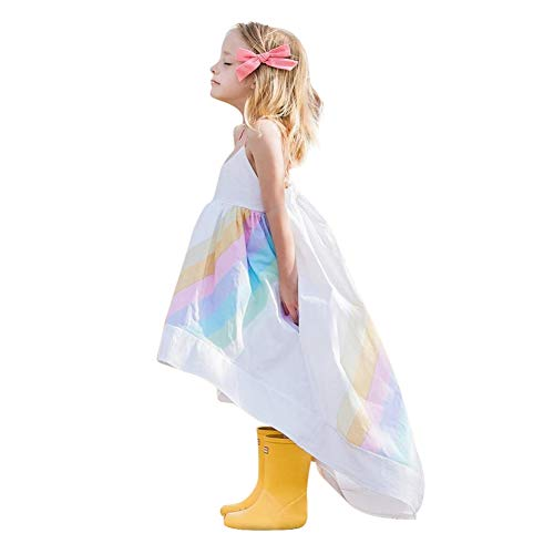 Kids Girls Rainbow Dress Toddler Princess Sleeveless Sundress Outfit Print Sling Halter Beach Summer Skirt ()